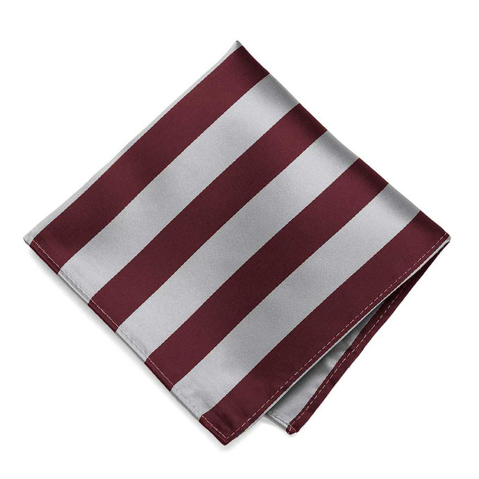 Burgundy and Silver Striped Pocket Square