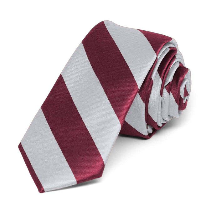 Burgundy and Silver Striped Skinny Tie, 2