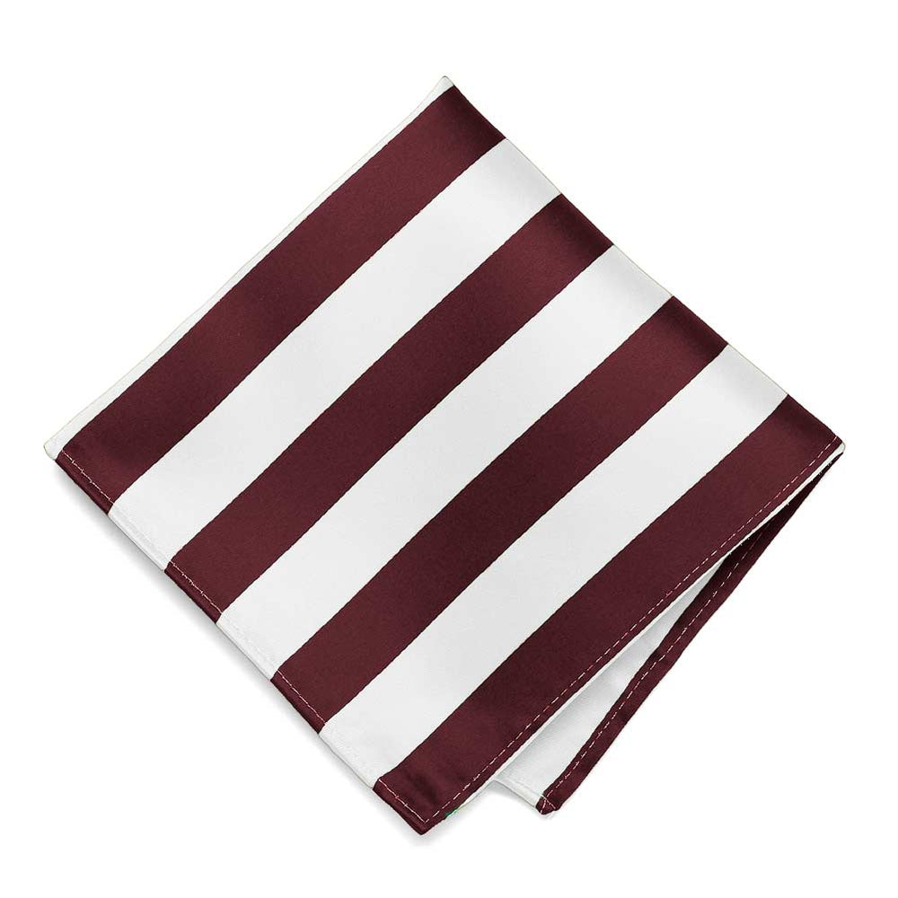 Burgundy and White Striped Pocket Square
