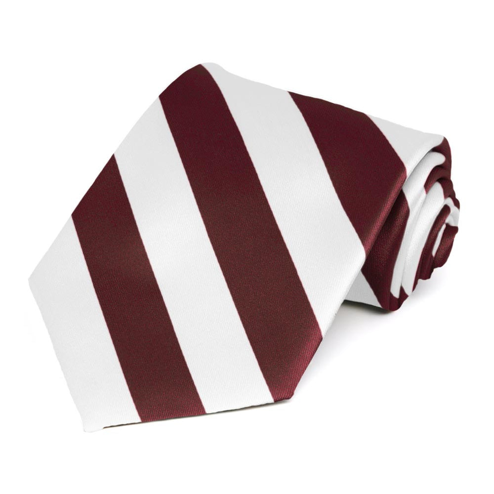 Burgundy and White Striped Tie