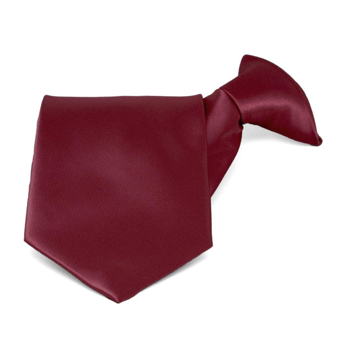 Burgundy Solid Color Clip-On Tie