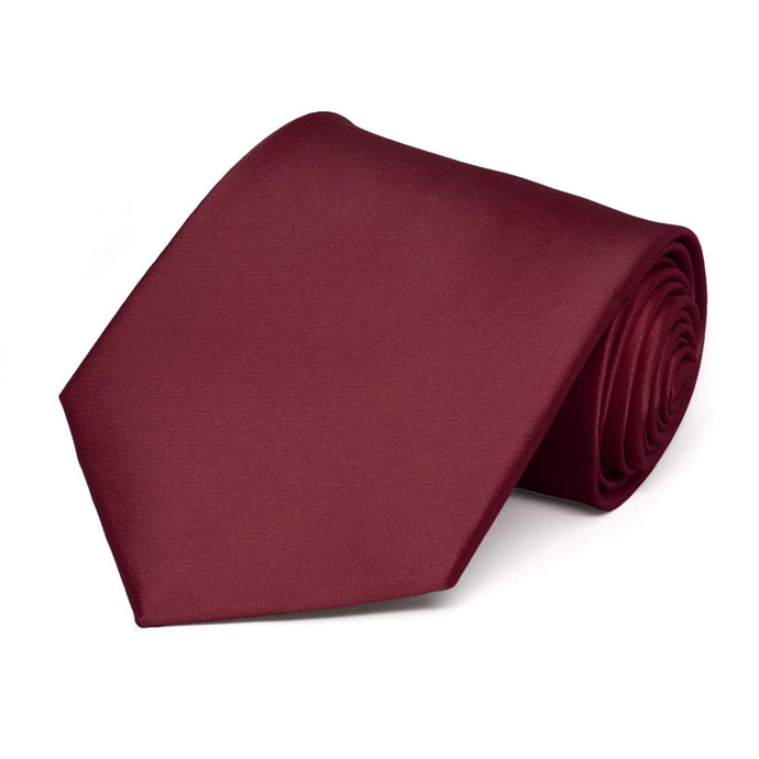 Burgundy Extra Long Solid Color Necktie