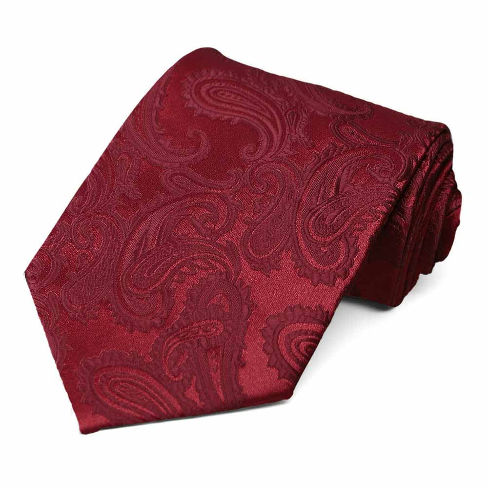 Burgundy paisley pattern extra long tie
