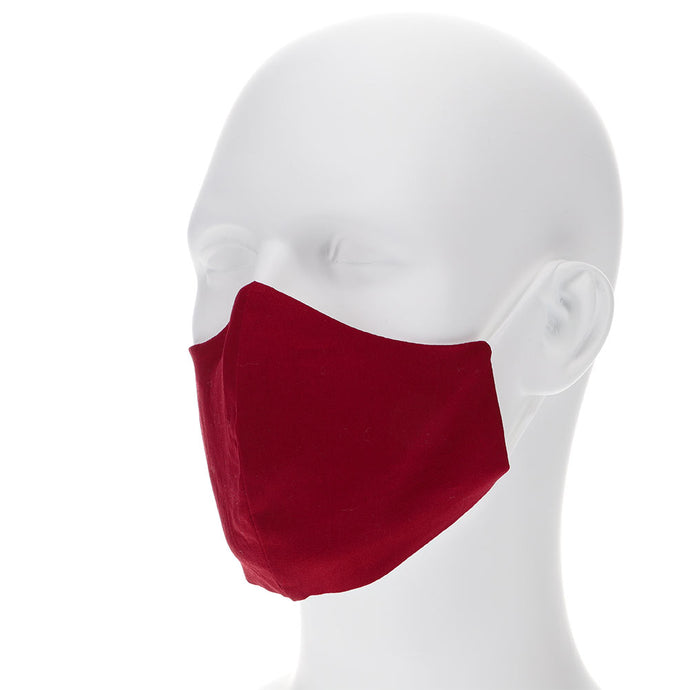Burgundy face mask on a mannequin with filter pocket