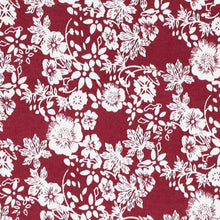 Load image into Gallery viewer, Burgundy and white floral fabric