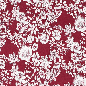 Burgundy and white floral fabric