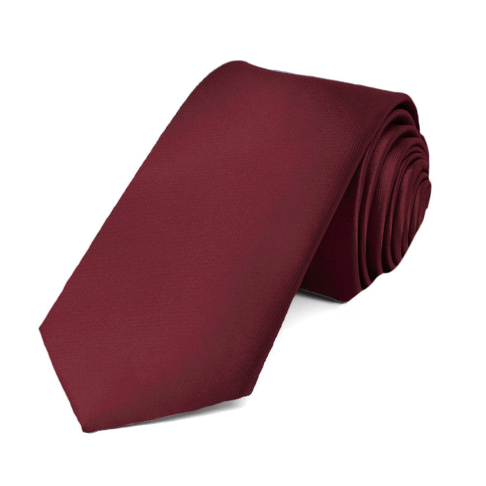 Burgundy Slim Solid Color Necktie, 2.5