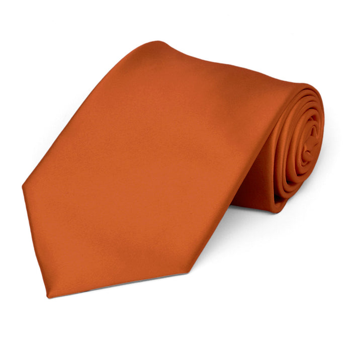 Burnt Orange Premium Extra Long Solid Color Necktie