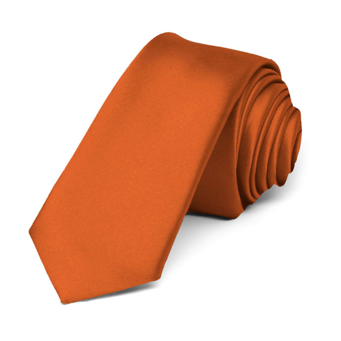 Burnt Orange Premium Skinny Necktie, 2