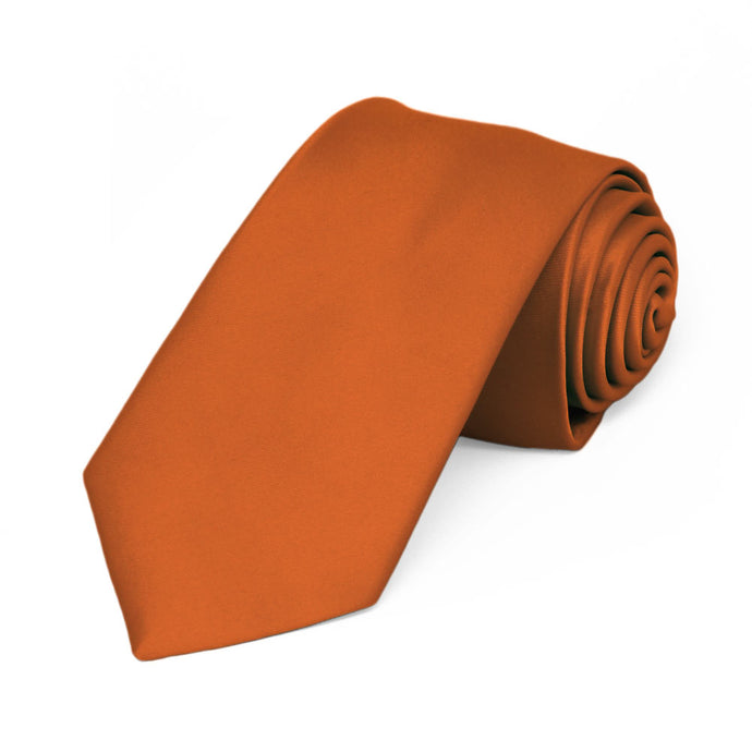 Burnt Orange Premium Slim Necktie, 2.5