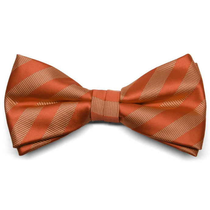 Burnt Orange Formal Striped Bow Tie