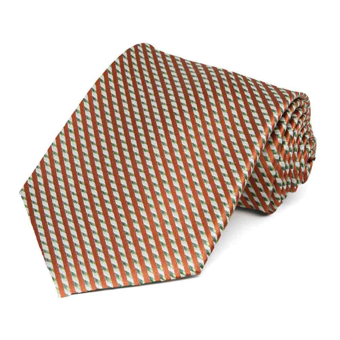 Burnt Orange Baron Striped Cotton/Silk Necktie