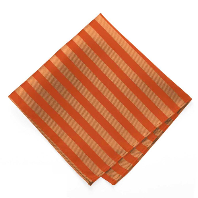 Burnt Orange Formal Striped Pocket Square