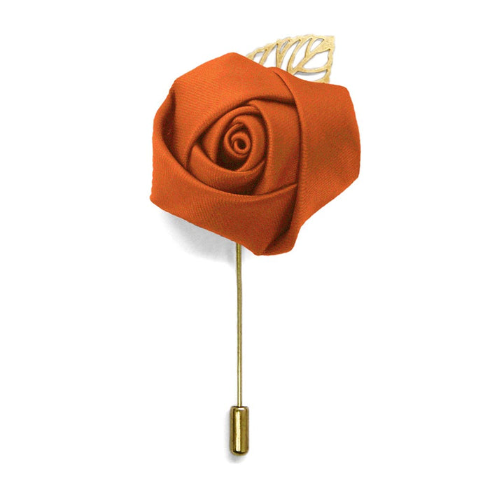 Burnt Orange Premium Flower Lapel Pin