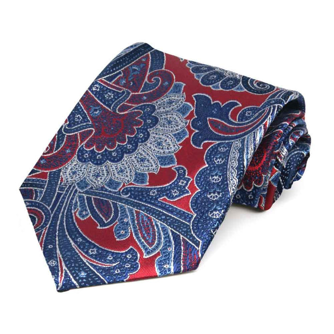 Crimson Red Sergeant Paisley Silk Extra Long Necktie