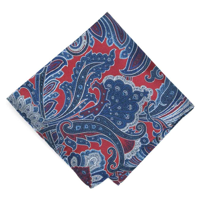 Crimson Red Sergeant Paisley Silk Pocket Square