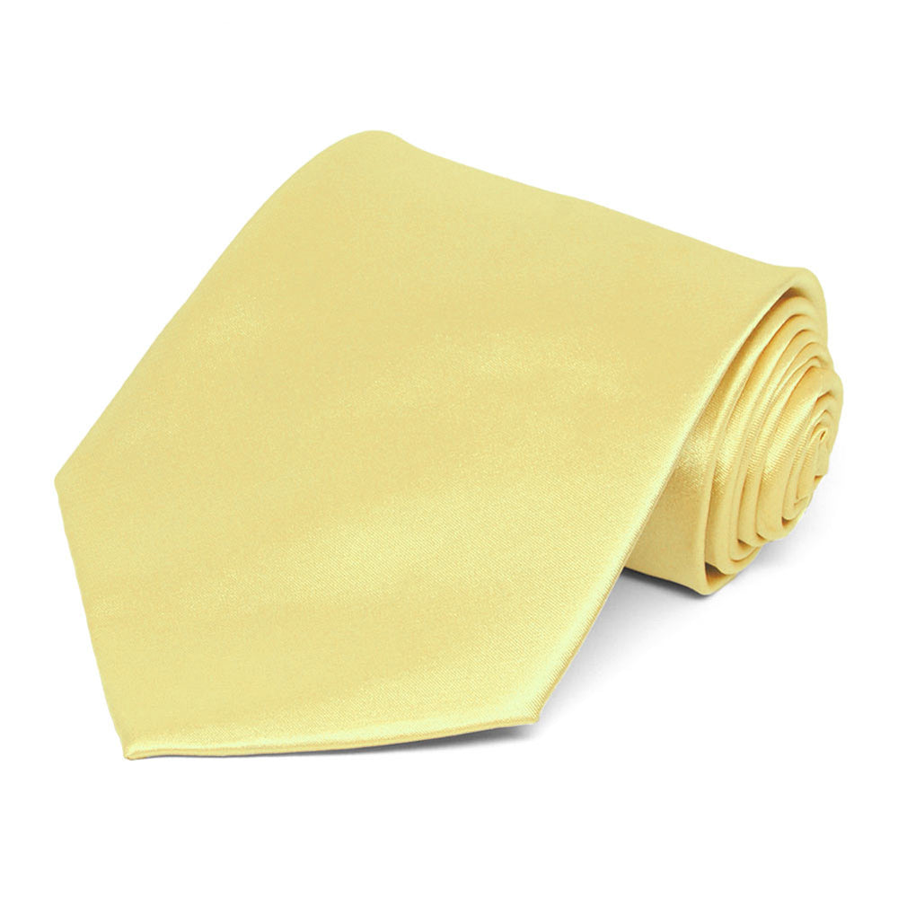Butter Yellow Extra Long Solid Color Necktie