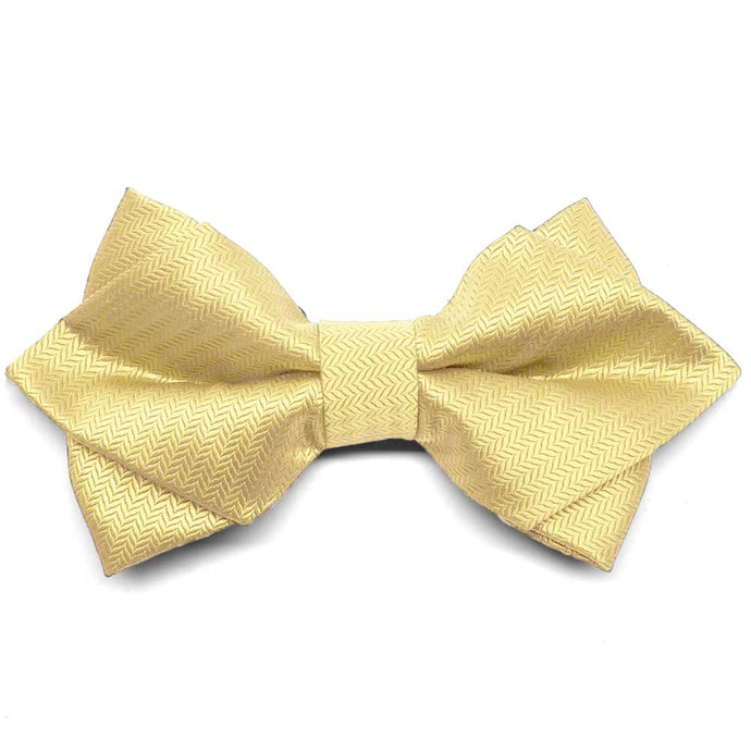 Butter Yellow Herringbone Diamond Tip Bow Tie