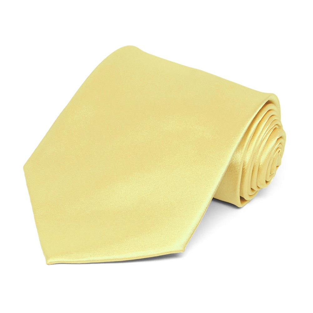 Butter Yellow Satin Staff Tie