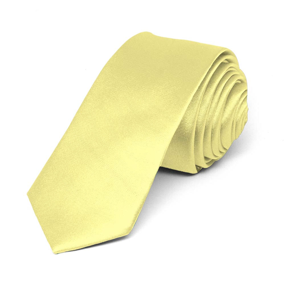 Butter Yellow Skinny Solid Color Necktie, 2