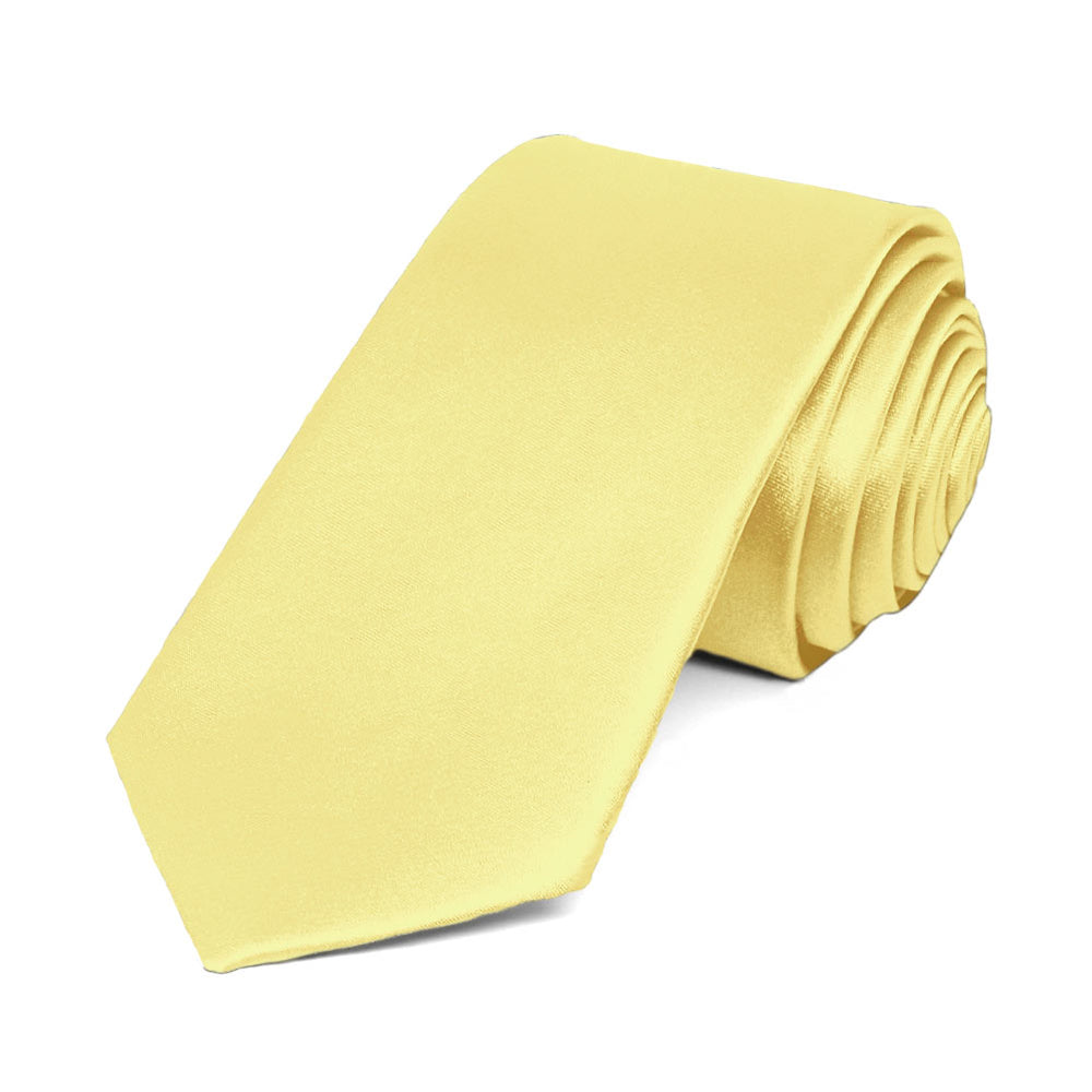 Butter Yellow Slim Solid Color Necktie, 2.5