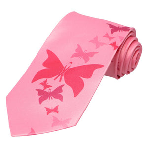 An array of butterfly's descending up a pink tie.