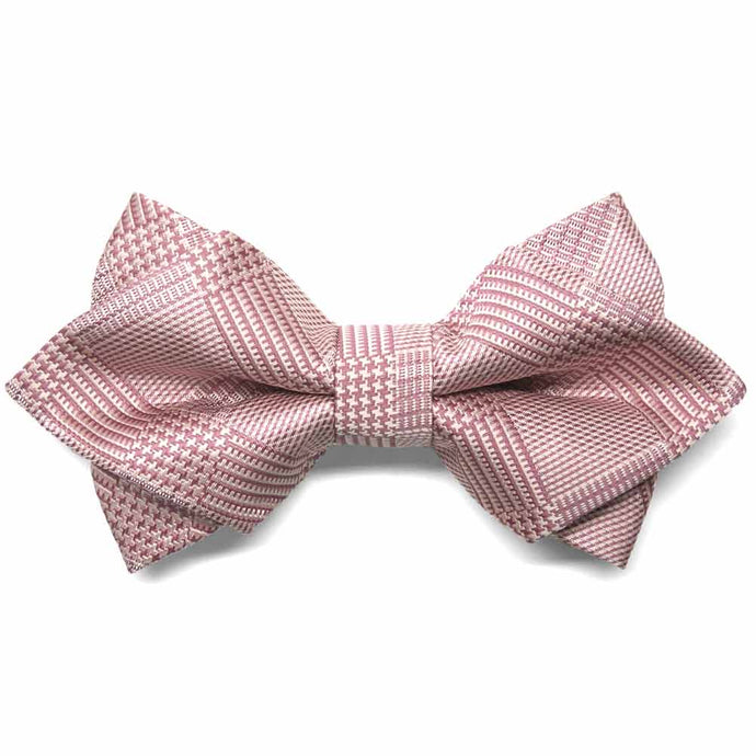 Cameo Pink Michael Glen Plaid Diamond Tip Bow Tie