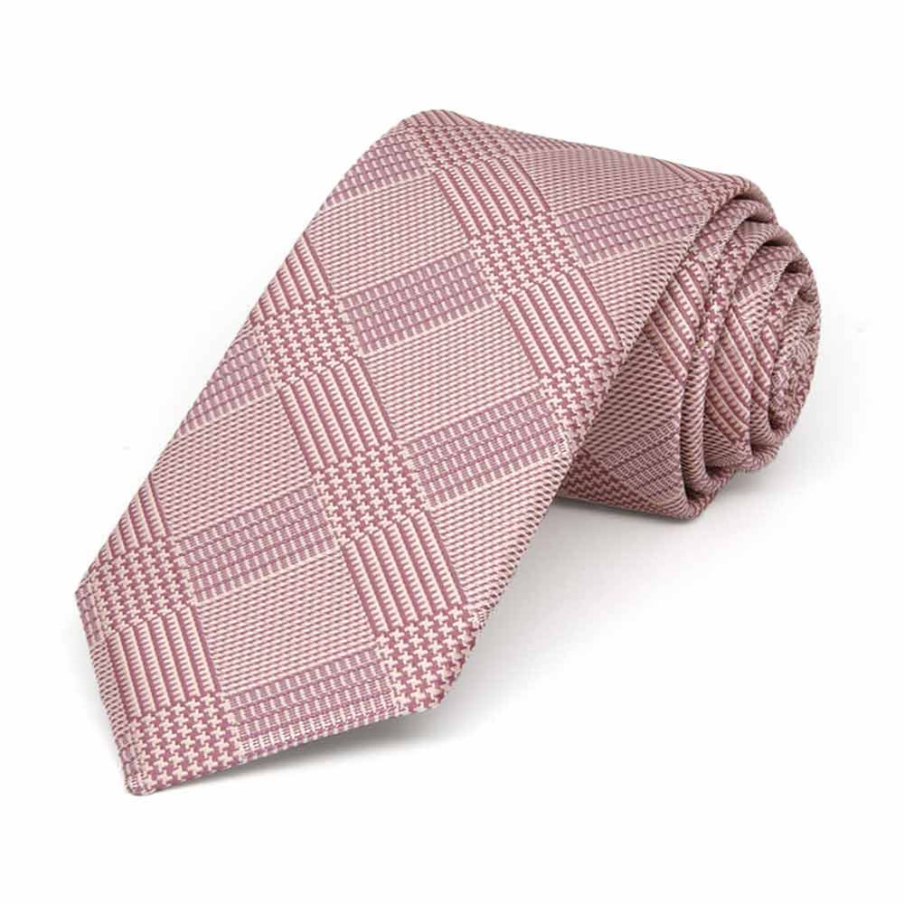 Cameo Pink Michael Glen Plaid Slim Necktie, 2.5