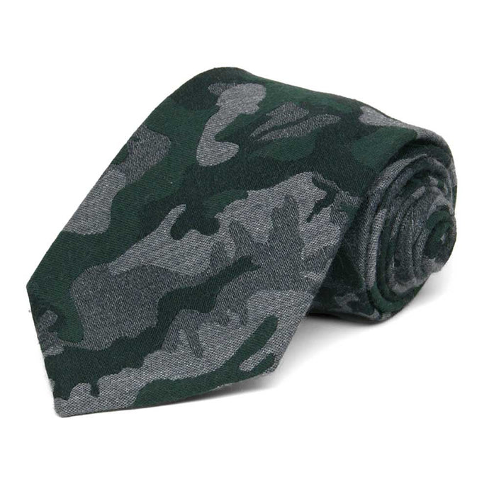Gray and Evergreen Brigadier Camo Wool/Silk Extra Long Necktie