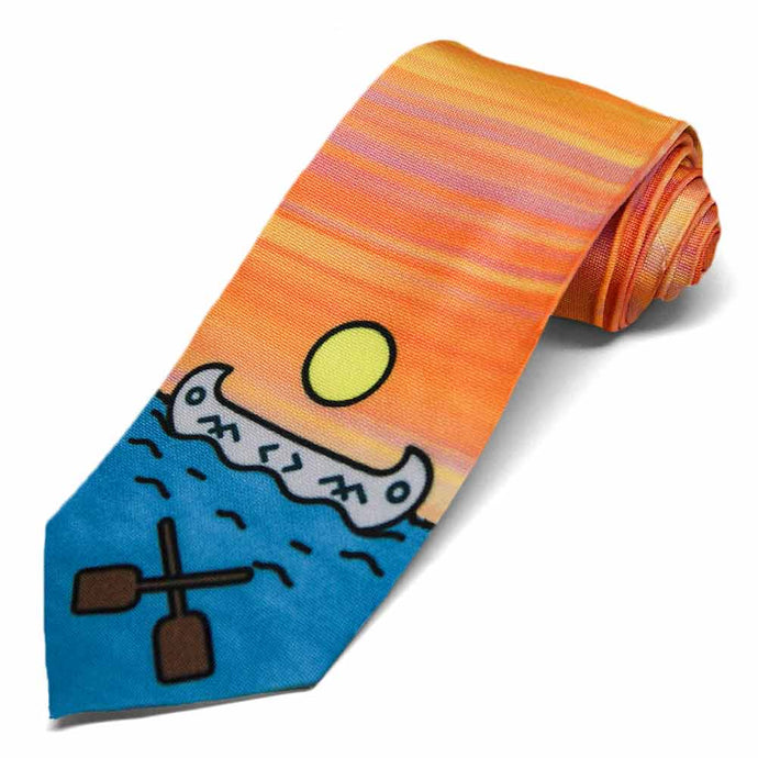 A sunset tie with a canoe and paddles at the base.
