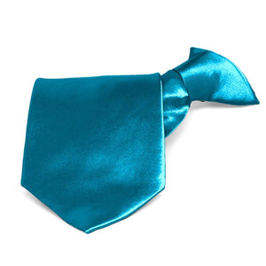 Caribbean Blue Solid Color Clip-On Tie