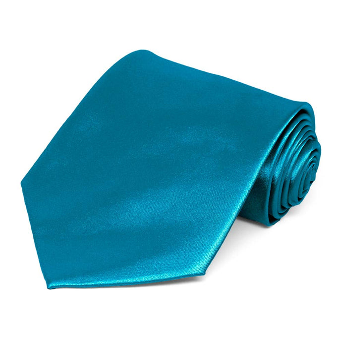 Caribbean Blue Solid Color Necktie