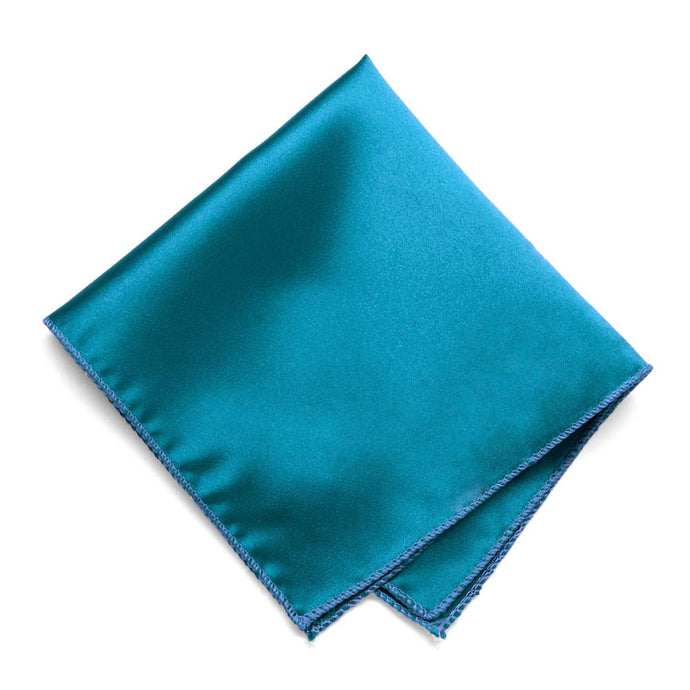 Caribbean Blue Solid Color Pocket Square