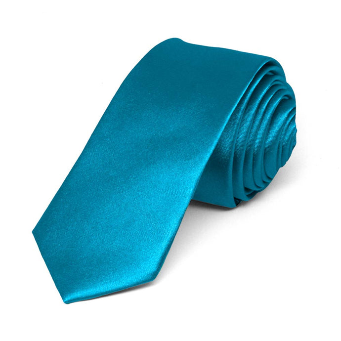 Caribbean Blue Skinny Solid Color Necktie, 2