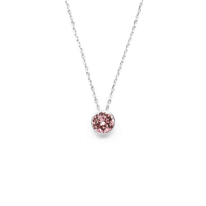Carnation Pink Round Crystal Necklace