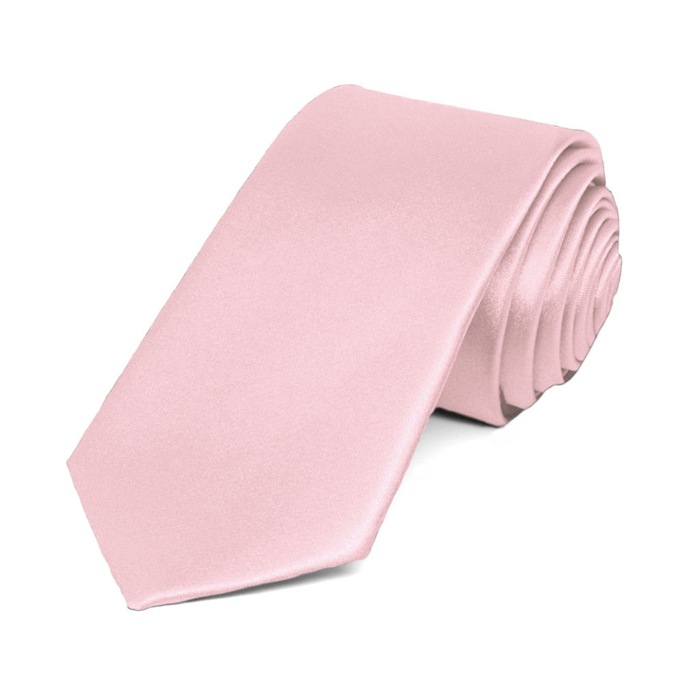 Carnation Pink Slim Solid Color Necktie, 2.5