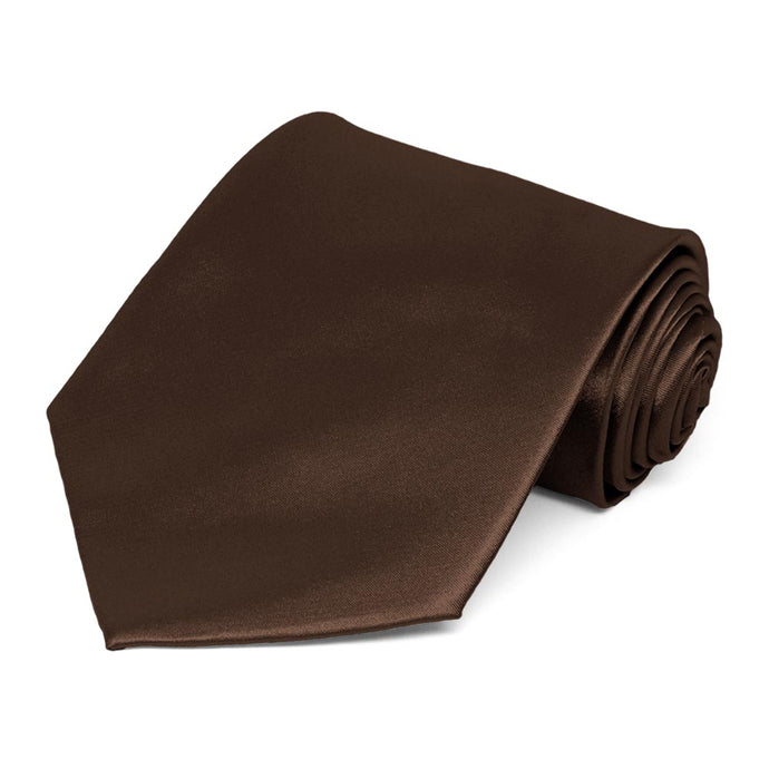 Chestnut Brown Extra Long Solid Color Necktie