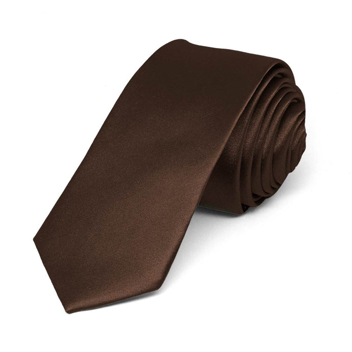 Chestnut Brown Skinny Solid Color Necktie, 2