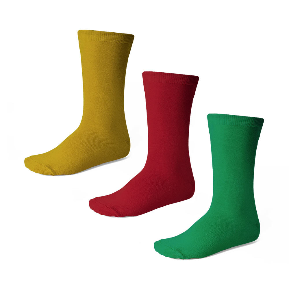 Boys' gold, red and green crew socks in a 3-pack
