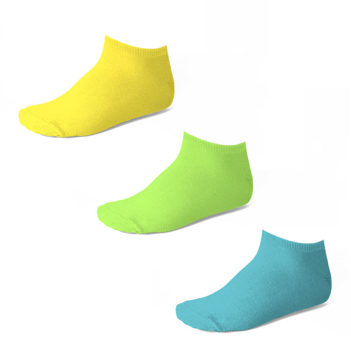 Boys ankle socks in yellow, lime green and turquoise