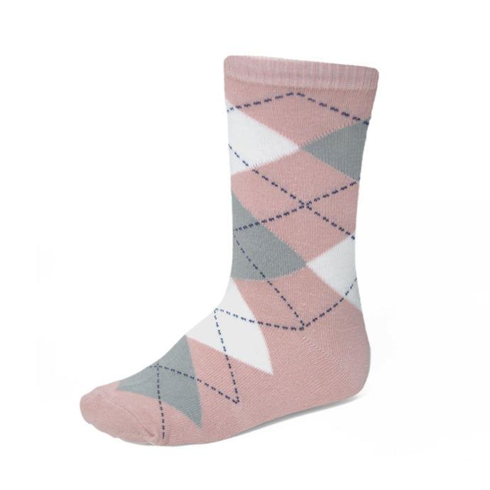 Boys' blush pink argyle socks with gray and white details
