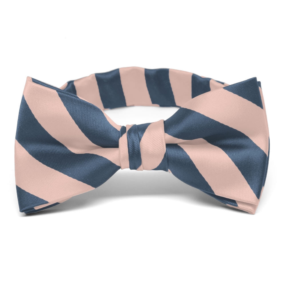Boys' Dusty Blue and Petal Striped Bow Tie