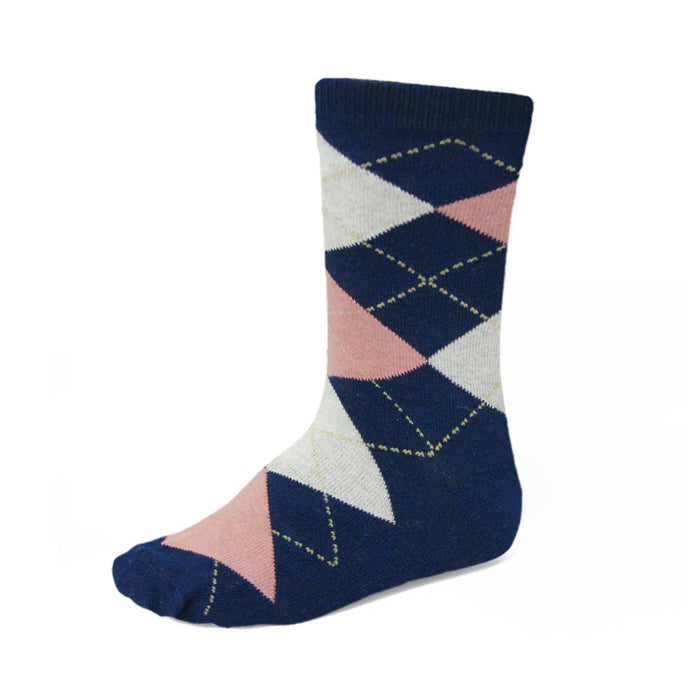 Boys' navy blue and blush pink argyle socks