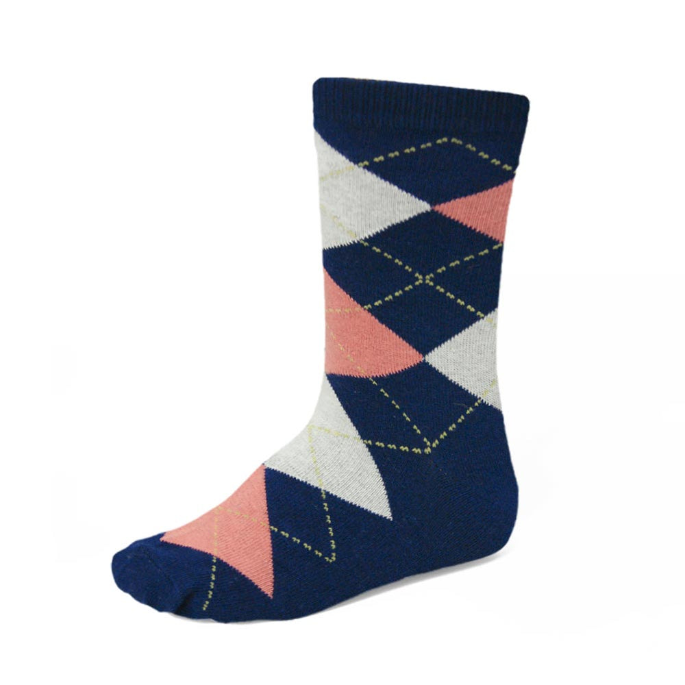Boys' navy blue and coral argyle socks