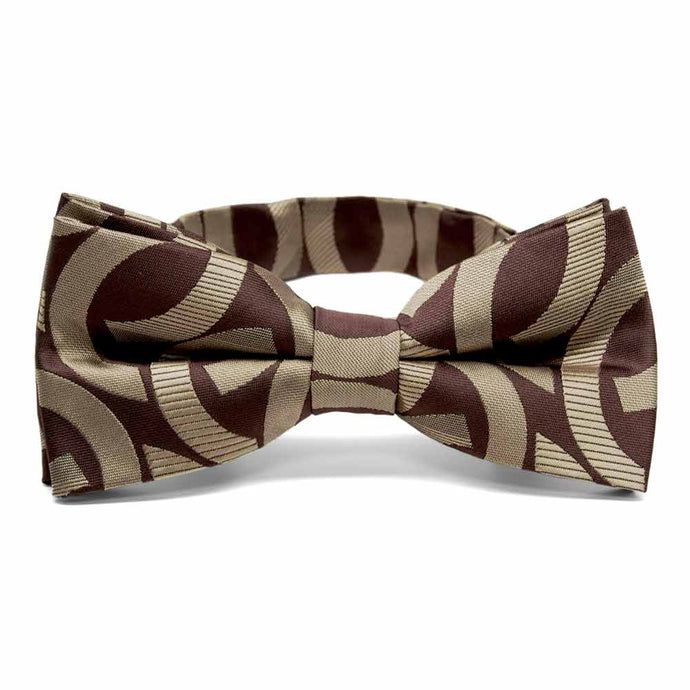 Chocolate Brown Kay Link Pattern Band Collar Bow Tie