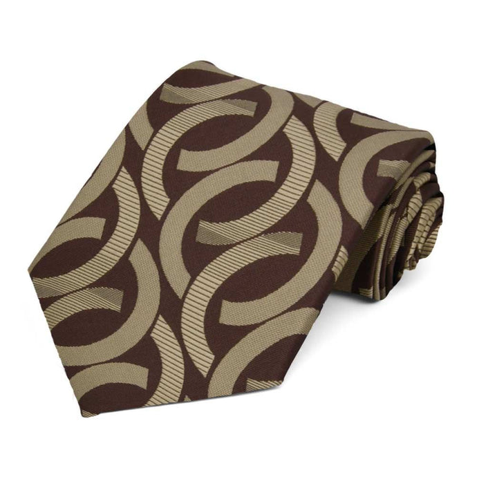 Chocolate Brown Kay Link Pattern Necktie