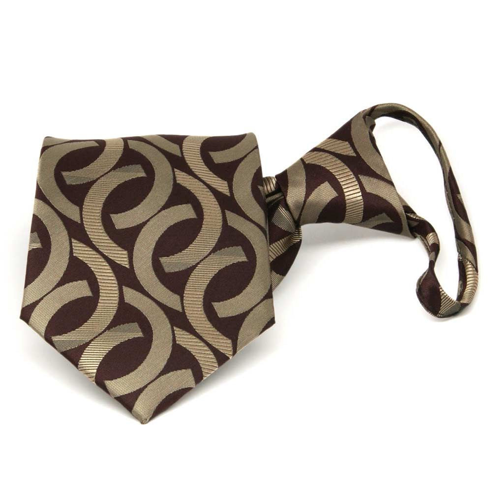 Chocolate Brown Kay Link Pattern Zipper Tie