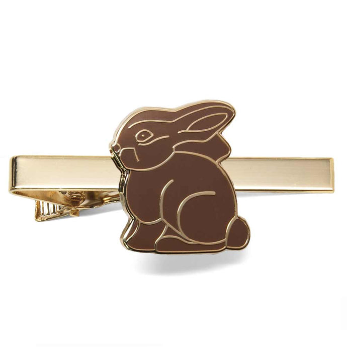 Chocolate bunny Easter tie bar on gold background.