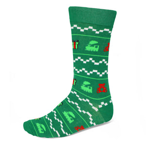 Men's holiday sweater pattern dress sock in green background