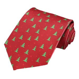 Christmas trees on a darker red tie.
